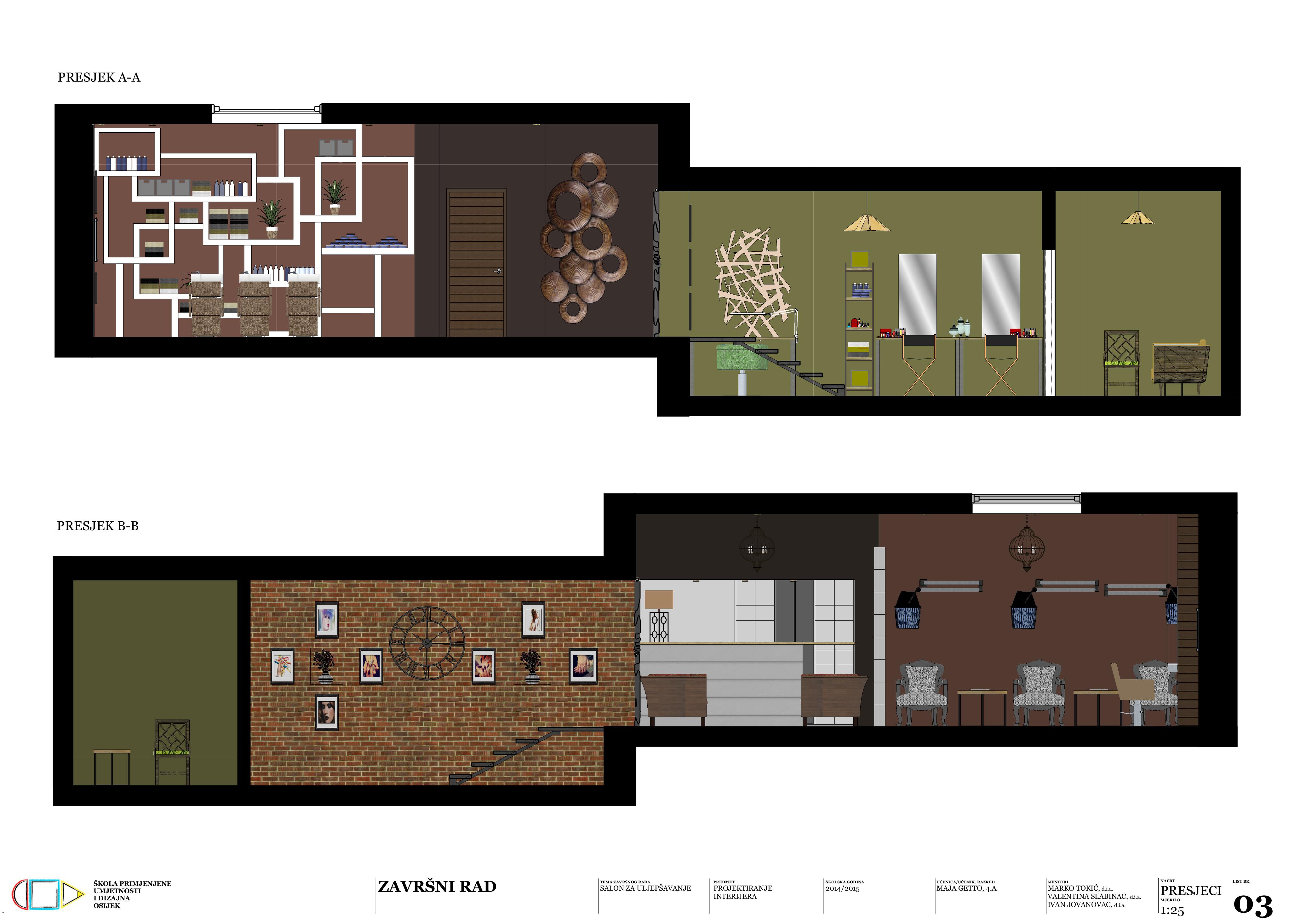 Dizajn interijera : Presjeci A-A i B-B
