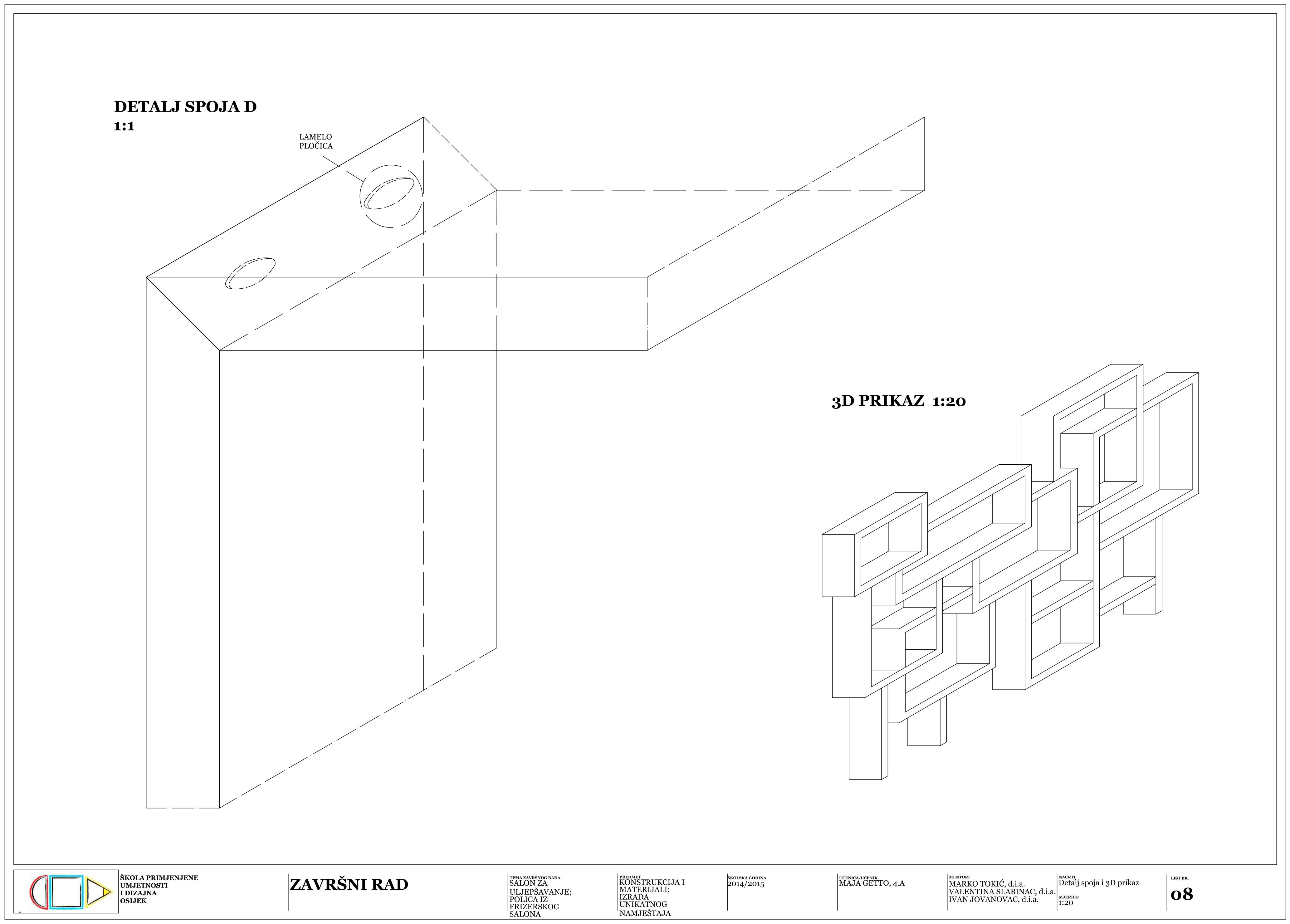 Dizajn namještaja : Detalj spoja i 3D prikaz
