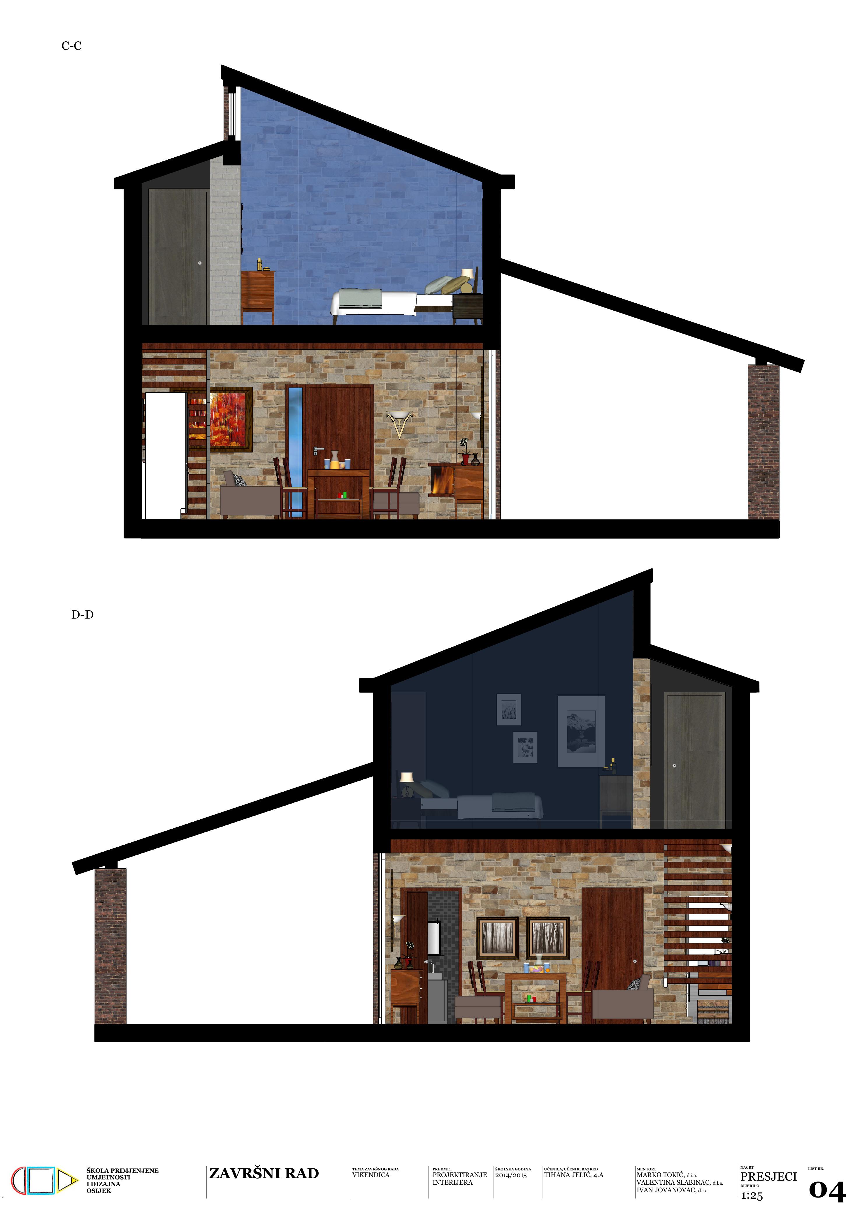 Vikendica : Završni rad je projekt redizajna postojeće kuće za odmor u prirodnom krajoliku Slavonije. Projektom se predlaže uklanjanje dijela međukatne konstrukcije od drvenih grednika i povećanje otvora na pročelju kako bi se oblikovao jedinstven i protočan prostor interijera koji je vizualno povezan s prirodnim okolišem. U radu su pretežito korišteni prirodni materijali kao drvo, kamen, opeka i boje u tonovima zemlje slavonske ravnice. Namještaj je jednostavna i funkcionalan s naglaskom na primjeni pojedinih komada namještaja izrađenim od slavonskog hrasta.